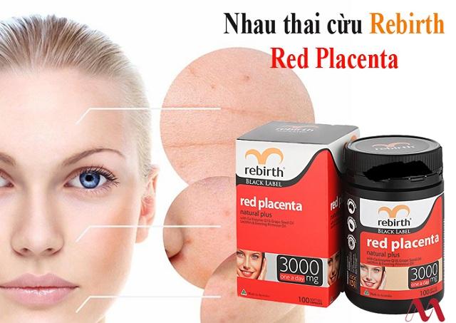 Viên uống nhau thai cừu Rebirth 3000mg Red Placenta mẫu mới 1