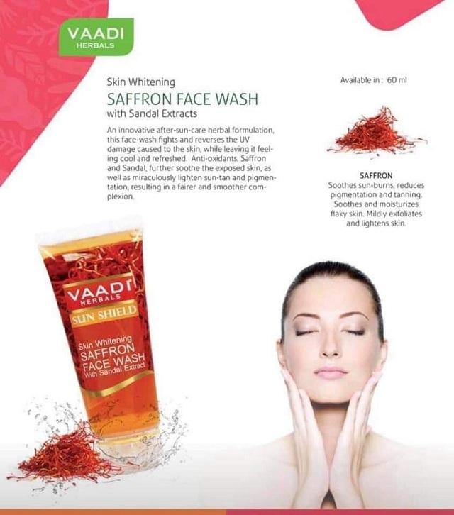 Sữa rửa mặt Saffron Face Wash Vaadi tuýp 60ml chính hãng 9