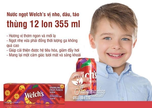 Nước ngọt Welch's dâu, táo, nho thùng 12 lon từ Mỹ 5