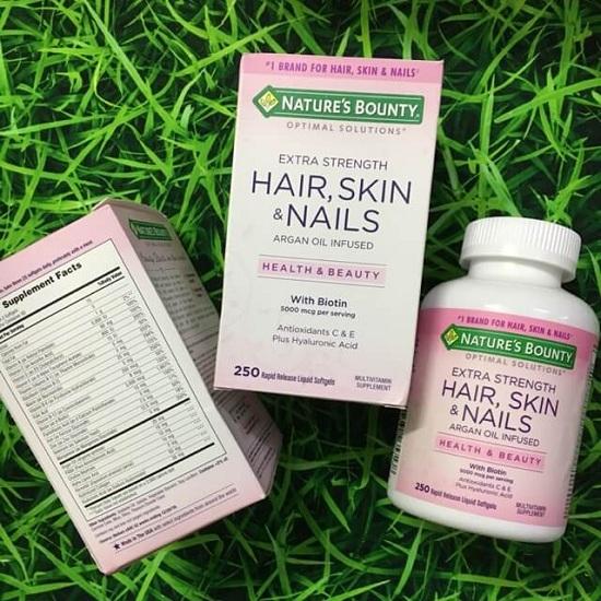 Hair, Skin & Nails Nature's Bounty 250 viên đẹp da móng tóc 7