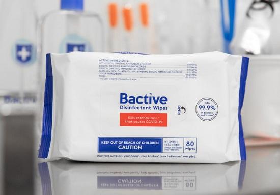 Khăn lau khử trùng Bactive 80 tờ của Mỹ - Diệt virus cúm 8