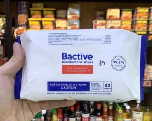 Khăn lau khử trùng Bactive 80 tờ của Mỹ - Diệt virus cúm 7